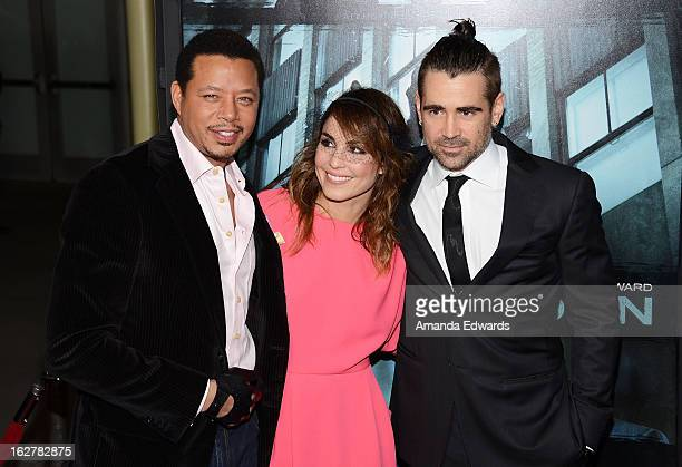 Actors Terrence Howard Noomi Rapace and Colin Farrell arrive at the Los Angeles Premiere of 'Dead Man Down' at ArcLight Hollywood on February 26 2013...