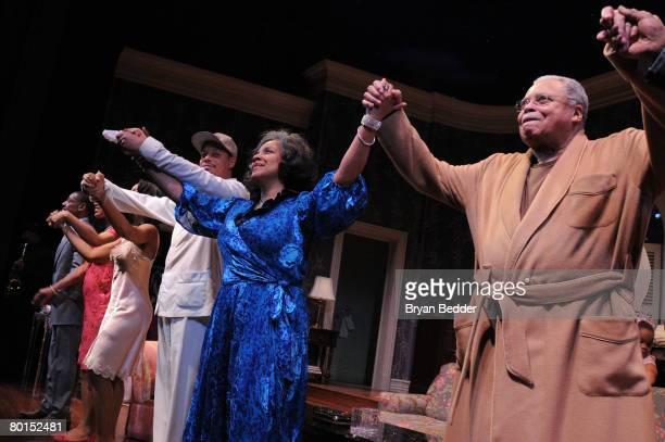 """Actors Terrence Howard, Phylicia Rashad and James Earl Jones appear onstage during curtain call at the opening night of """"Cat On A Hot Tin Roof"""" at..."""