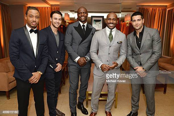 Actors Terrence J Ryan Guzman Terry Crews Dolvett Quince and Jesse Metcalfe attend Cadillac and GQ Celebrate Men Of The Year at Sunset Tower on...
