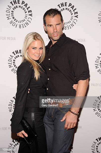 "Actors Terri Colombino and Austin Peck attend a farewell to cast of ""As The World Turns"" at The Paley Center for Media on August 18, 2010 in New York..."