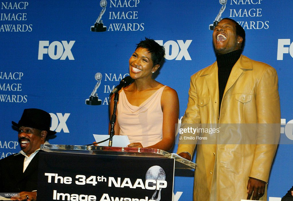 Actors Terri Vaughn (L) and Flex Alexander announce the nomination's for the 34th NAACP Image awards during a press conference on December 5, 2002 in West Hollywood, California. The 34th NAACP Image Awards will be taped at the Universal Amphitheatre March 8, 2003 and will air on March 13th.