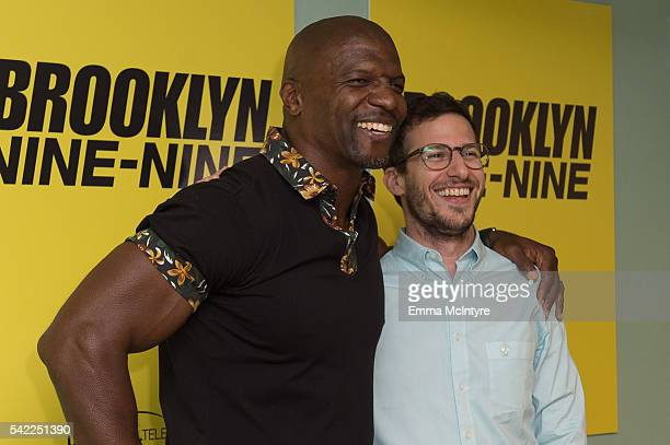 Actors Terry Crews and Andy Samberg attend the FYC at UCB for 'Brooklyn NineNine' at UCB Sunset Theater on June 22 2016 in Los Angeles California