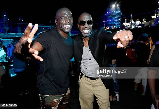 Actors Terry Crews and J B Smoove are seen backstage at 'Spike's Rock the Troops' event held at Joint Base Pearl Harbor Hickam on October 22 2016 in...