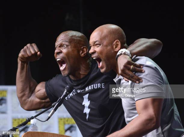 Actors Terry Crews and Will Smith pose onstage at Netflix Films 'Bright' and 'Death Note' panel during ComicCon International 2017 at San Diego...