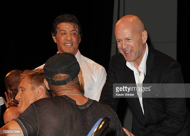 Actors Terry Crews Dolph Lundgren Ultimate Fighter/actor Randy Couture actor/Director Sylvester Stallone and actor Bruce Willis walk onstage at the...