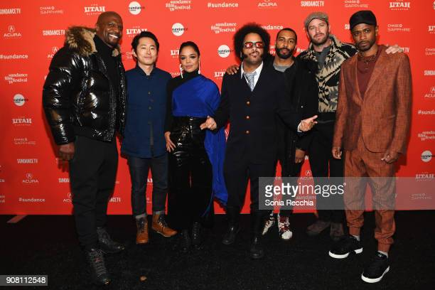 Actors Terry Crews Steven Yeun Tessa Thompson writer/ director Boots Riley actors Omari Hardwick Armie Hammer and Lakeith Stanfield attend the 'Sorry...