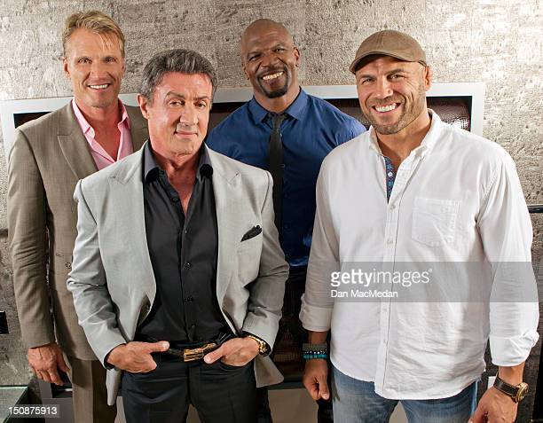 Actors Terry Crews Sylvester Stallone Dolph Lundgren and Randy Couture are photographed for USA Today on July 12 2012 in San Diego California