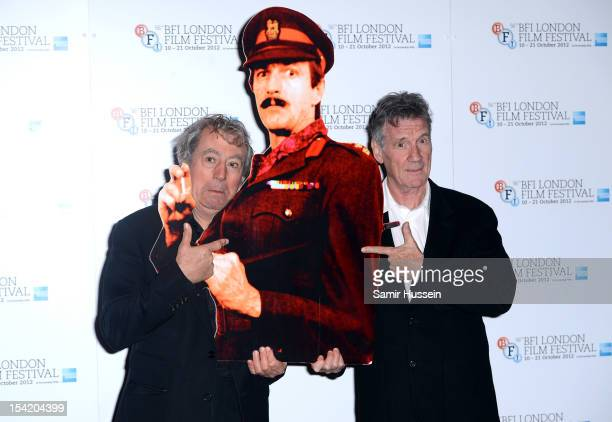 Actors Terry Jones and Michael Palin attend 'A Liar's Autobiography' photocall during the 56th BFI London Film Festival at the Empire Leicester...