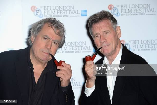 Actors Terry Jones and Michael Palin attend A Liar's Autobiography photocall during the 56th BFI London Film Festival at the Empire Leicester Square...