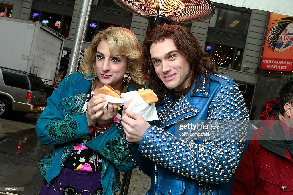 Actors Tessa Alves and Justin Matthew Sargent of Rock of Ages attend the Norwegian Warming Station launch in Times Square on January 28, 2013 in New York City.