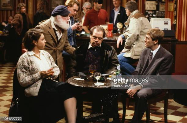 Actors Tessa PeakeJones Buster Merryfield David Jason and Nicholas Lyndhurst in a pub scene from episode 'The Chance of a Lunchtime' of the...