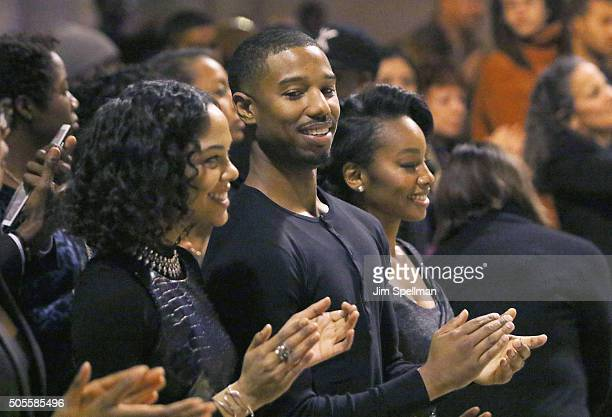 Actors Tessa Thompson Michael B Jordan and Anika Noni Rose attend the 2016 MLK Now at Riverside Church on January 18 2016 in New York City