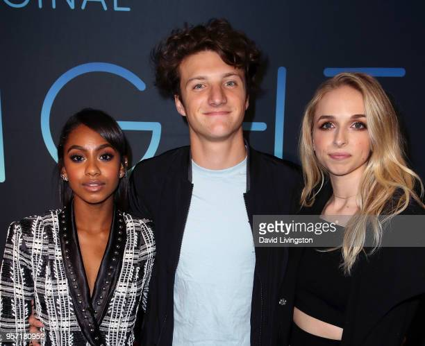 Actors Tetona Jackson Jake Short and Jenn McAllister attend the premiere of AwesomenessTV's new show All Night at Awesomeness HQ on May 10 2018 in...