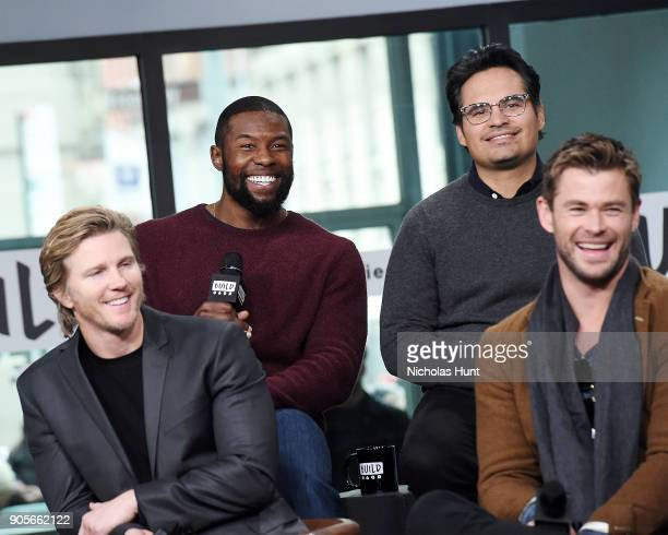 Actors Thad Luckinbill Trevante Rhodes Michael Pena and Chris Hemsworth attend the Build Series to discuss '12 Strong' at Build Studio on January 16...