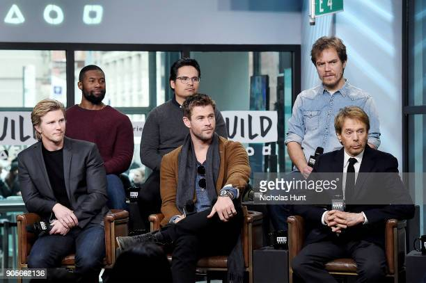 Actors Thad Luckinbill Trevante Rhodes Michael Pena Chris Hemsworth Michael Shannon and Jerry Bruckheimer attend the Build Series to discuss '12...