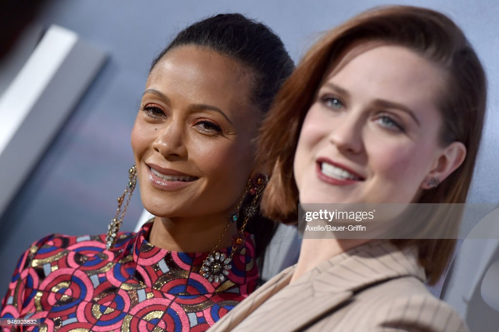 Actors Thandie Newton and Evan Rachel Wood arrive at the Los Angeles premiere of HBO's 'Westworld' season 2 at The Cinerama Dome on April 16, 2018 in Los Angeles, California.
