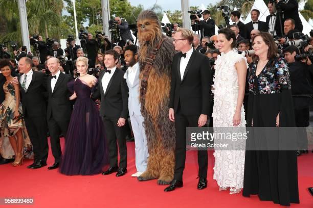 Actors Thandie Newton Woody Harrelson director Ron Howard actors Emilia Clarke Alden Ehrenreich Donald Glover Chewbacca Paul Bettany Phoebe...