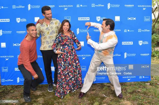 "Actors Theo Christine, Arnaud Valois, Laure Calamy and director Nicolas Maury attend the ""Garcon Chiffon"" Photocall at 13th Angouleme French-Speaking..."