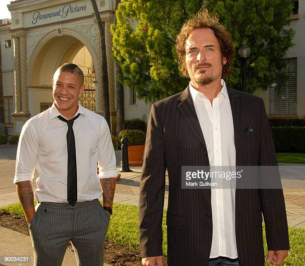 Actors Theo Rossi and Kim Coates arrive at the season two premiere screening of Sons Of Anarchy at the Paramount Theater on the Paramount Studios lot...