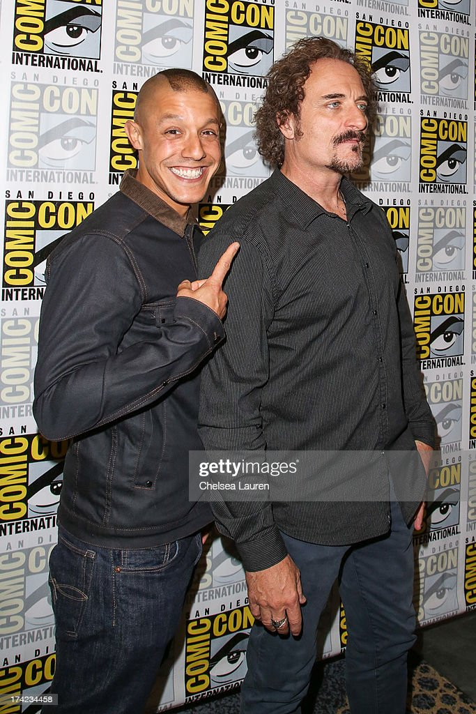 Actors Theo Rossi (L) and Kim Coates attend the 'Sons of Anarchy' press line during day 4 of Comic-Con International on July 21, 2013 in San Diego, California.