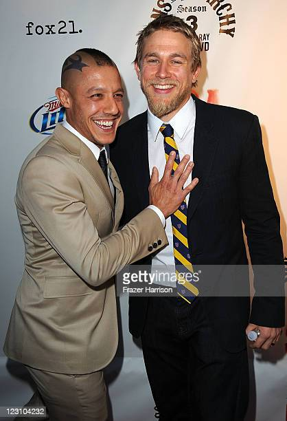 Actors Theo Rossi Charlie Hunnam arrive at the Screening of FX's Sons Of Anarchy Season 4 Premiere at ArcLight Cinemas Cinerama Dome on August 30...