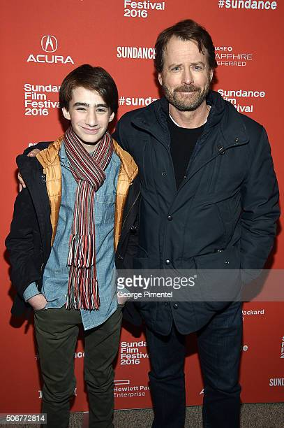 Actors Theo Taplitz and Greg Kinnear attend the 'Little Men' Premiere during the 2016 Sundance Film Festival at Eccles Center Theatre on January 25...