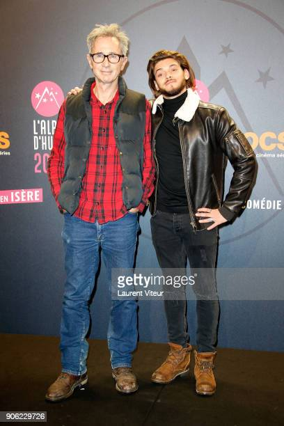 Actors Thierry Lhermitte and Rayane Bensetti attend 'La Finale' Premiere during the 21st Alpe D'Huez International Comedy Film Festival on January 17...