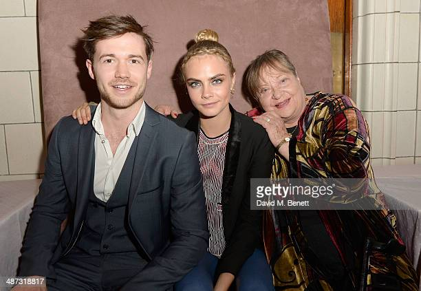 "Actors Thomas Ainsley Cara Delevingne and Sylvia Syms attend the launch party of ""Timeless"" a oneoff film as part of Sky Arts' Playhouse Presents..."
