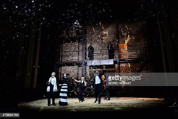 Actors Thomas Bading as Edward Eva Meckbach as Elizabeth Jenny Konig as Lady Anne and Sebastien Schwarz as Brakenbury perform during a rehearsal of...