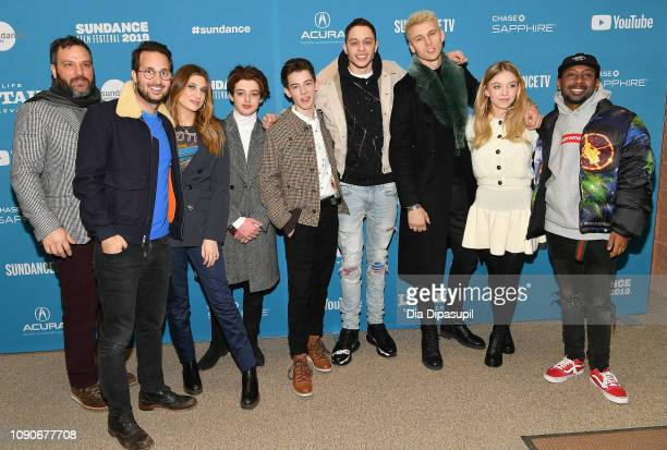 Actors Thomas Barbusca Griffin Gluck Pete Davidson Colson Baker and Sydney Sweeney attend the Big Time Adolescence Premiere during the 2019 Sundance...