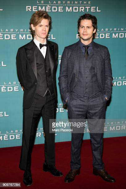 Actors Thomas BrodieSangster and Dylan O'Brien attend the 'Maze Runner The Death Cure' Premiere at Le Grand Rex on January 24 2018 in Paris France