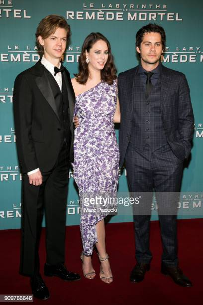 Actors Thomas BrodieSangster Kaya Scodelario and Dylan O'Brien attend the 'Maze Runner The Death Cure' Premiere at Le Grand Rex on January 24 2018 in...