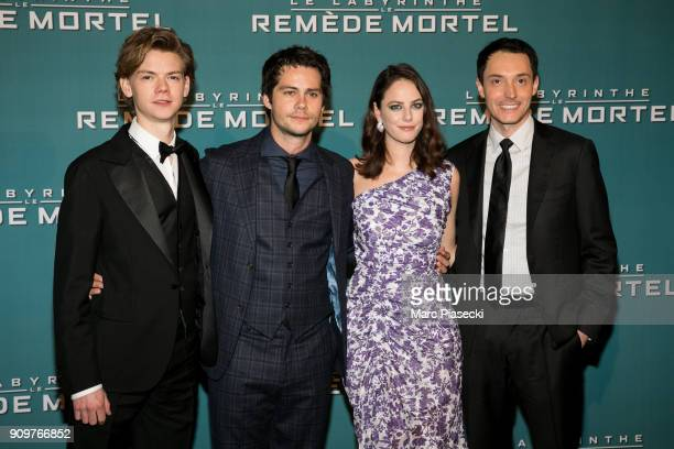 Actors Thomas BrodieSangster Kaya Scodelario Dylan O'Brien and director Wes Ball attend the 'Maze Runner The Death Cure' Premiere at Le Grand Rex on...