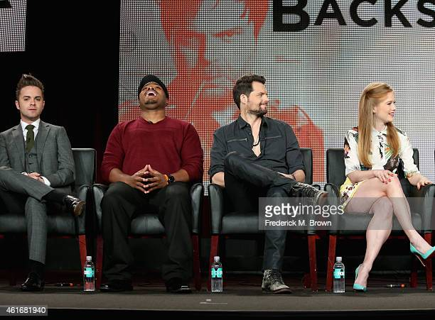 Actors Thomas Dekker Page Kennedy Kristoffer Polala and Genevieve Angelson speak onstage during the 'Backstrom' panel discussion at the FOX portion...