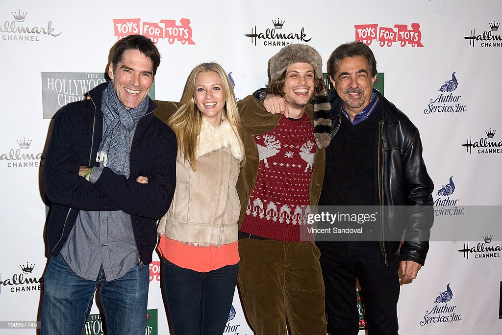 Actors Thomas Gibson, AJ Cook, Matthew Gray Gubler and Joe Mantegna attend the 2012 Hollywood Christmas Parade Benefiting Marine Toys For Tots on November 25, 2012 in Los Angeles, California.