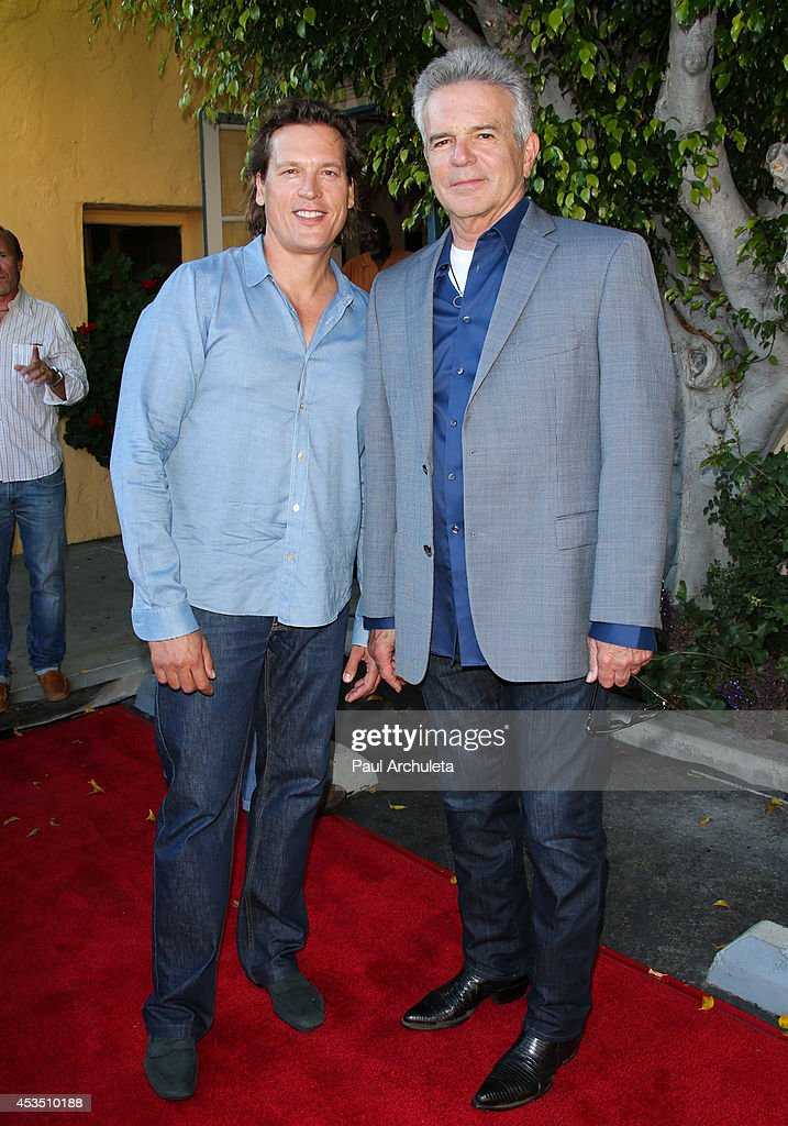 Actors Thomas Hildreth (L) and Tony Denison (R) attend the premiere of 'Child Of Grace' at Raleigh Studios on August 11, 2014 in Los Angeles, California.