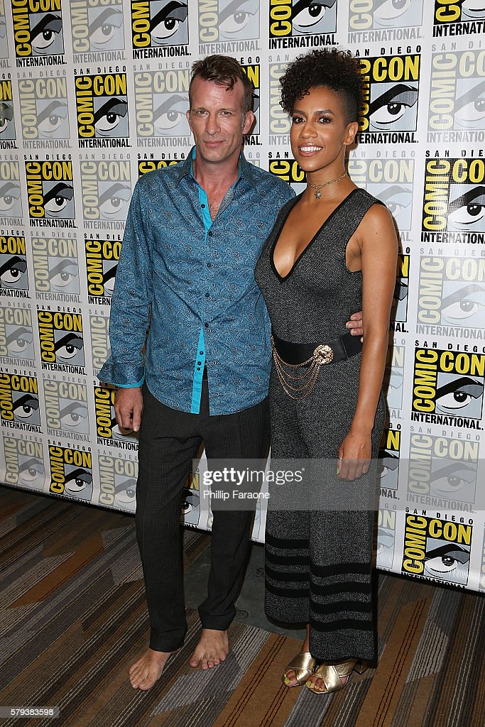 Actors Thomas Jane and Dominique Tipper attend 'The Expanse' press line during Comic-Con International 2016 on July 23, 2016 in San Diego, California.