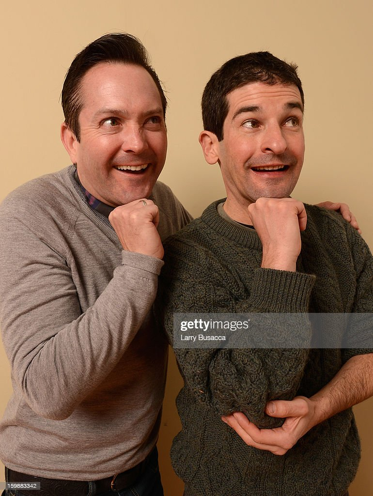 Actors Thomas Lennon (L) and Robert Ben Garant pose for a portrait during the 2013 Sundance Film Festival at the Getty Images Portrait Studio at Village at the Lift on January 21, 2013 in Park City, Utah.