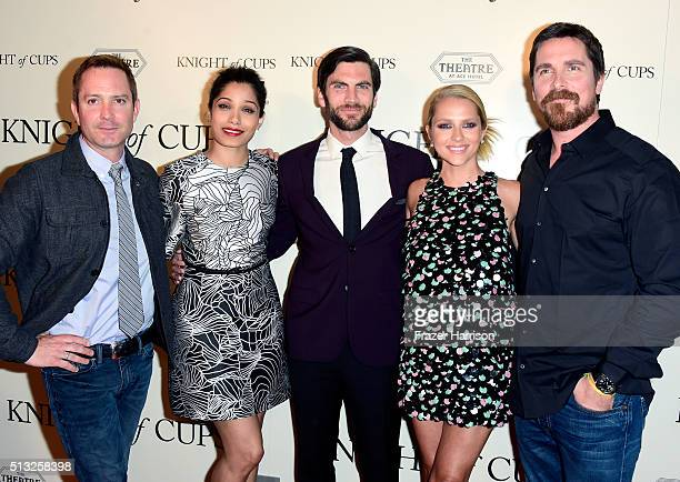 Actors Thomas Lennon Wes Bentley Teresa Palmer Freida Pinto and Christian Bale attend the premiere of Broad Green Pictures' 'Knight Of Cups' on March...