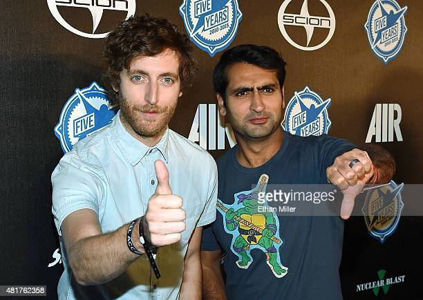 Actors Thomas Middleditch and Kumail Nanjiani attend the premiere party for Skybound Entertainment's 'AIR' during ComicCon International 2015 at...