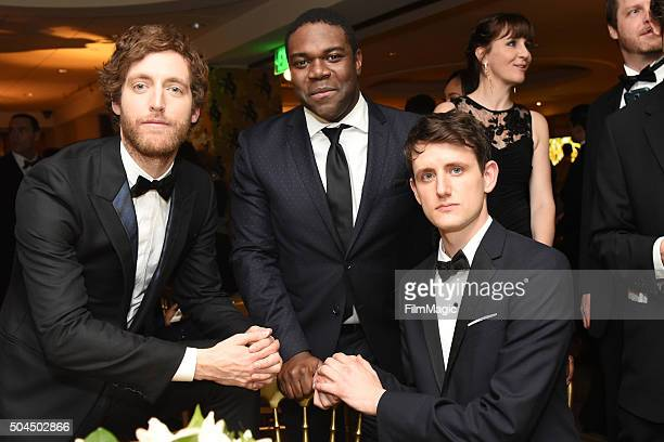 Actors Thomas Middleditch Sam Richardson and actor Zach Woods attend HBO's Official Golden Globe Awards After Party at The Beverly Hilton Hotel on...