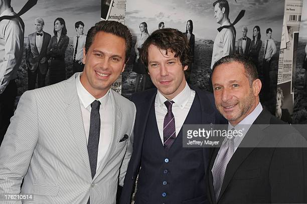 Actors Thomas Sadoski John Gallagher and producer Alan Poul arrive at the Los Angeles Season 2 Premiere Of HBO's Series 'The Newsroom' at Paramount...