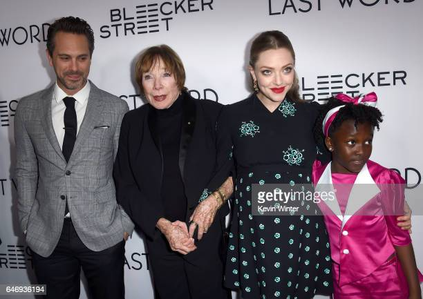 Actors Thomas Sadoski Shirley MacLaine Amanda Seyfried and Ann'Jewel Lee at the premiere of Bleecker Street Media's 'The Last Word' at ArcLight...