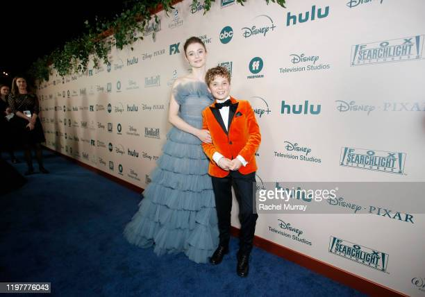 Actors Thomasin McKenzie and Roman Griffin Davis attend the 2020 Walt Disney Company PostGolden Globe Awards Show celebration at The Beverly Hilton...