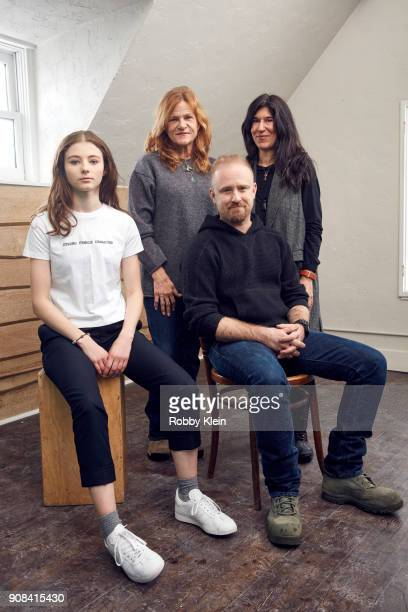 Actors Thomasin McKenzie Dale Dickey Ben Foster and Director Debra Granik from the film 'Leave No Trace' pose for a portrait in the YouTube x Getty...