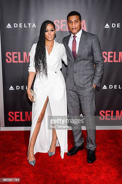 Actors Tia Mowry and Cory Hardrict enter the 'Selma' New York Premiere at the Ziegfeld Theater on December 14 2014 in New York City
