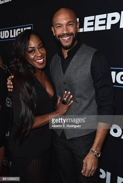 Actors Tichina Arnold and Stephen Bishop attend the Premiere of Open Road Films' Sleepless at Regal LA Live Stadium 14 on January 5 2017 in Los...