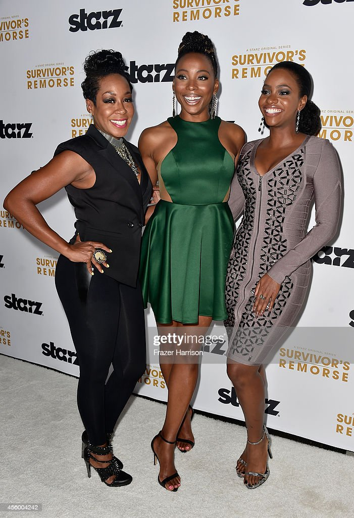 Actors Tichina Arnold, Erica Ash and Teyonah Parris arrive at the Premiere Of Starz 'Survivor's Remorse' at Wallis Annenberg Center for the Performing Arts on September 23, 2014 in Beverly Hills, California.