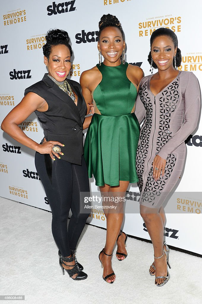 Actors Tichina Arnold, Erica Ash and Teyonah Parris attend the Los Angeles premiere of STARZ new series 'Survivor's Remorse' at Wallis Annenberg Center for the Performing Arts on September 23, 2014 in Beverly Hills, California.