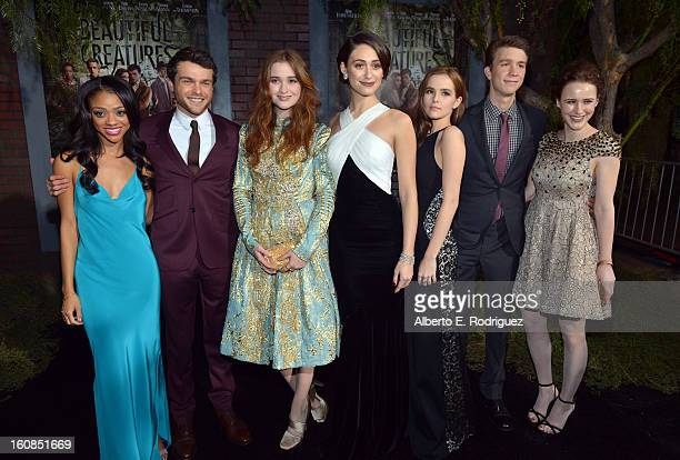 Actors Tiffany Boone Alden Ehrenreich Alice Englert Emmy Rossum Zoey Deutch Thomas Mann and Rachel Brosnahan attend the Los Angeles premiere of...